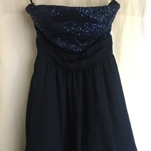 Navy Blue sequin strapless dress